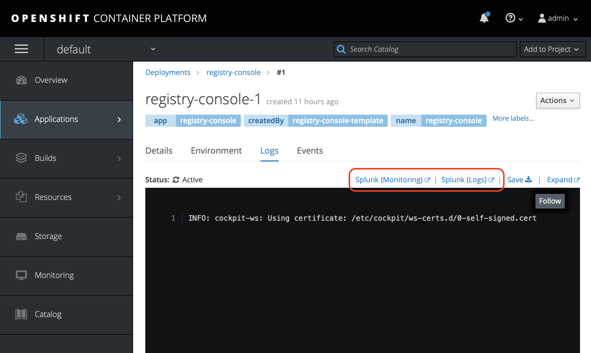 OpenShift Web Console Example